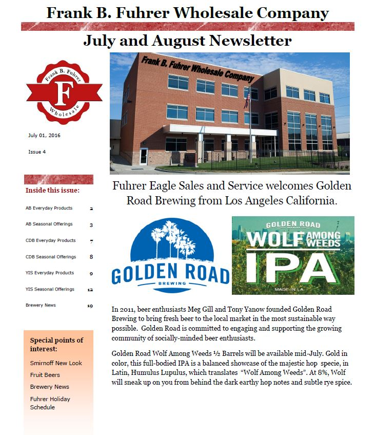 July & August 2016 Newsletter - Frank B. Fuhrer Wholesale